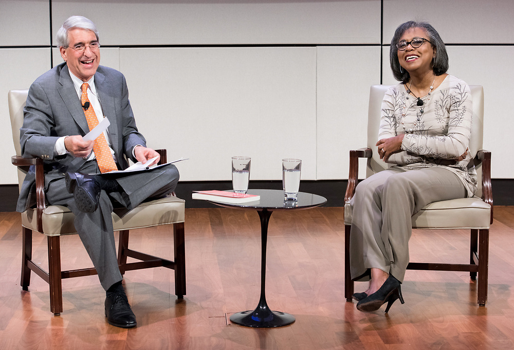 Photo by Mara Lavitt<br /> October 30, 2017<br /> Yale University, New Haven, CT<br /> Photography: &copy;Mara Lavitt<br /> Lawyer and professor Anita Hill in conversation with Yale President Peter Salovey for the &quot;Women of Yale Lectures,&quot; at Evans Hall, Yale School of Management. A reception and dinner followed the conversation.