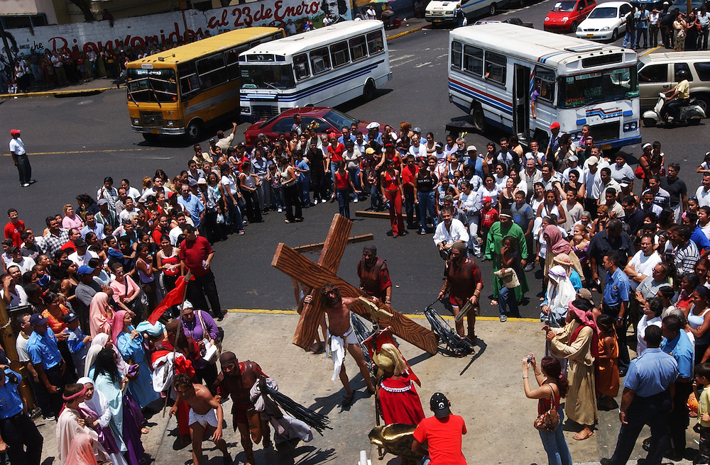 Members of a theatre group put on a passion play that meandered through downtown Caracas on Good Friday.