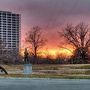 Penn Valley Park in Kansas City, Missouri - former BMA Tower/One Park Place Condos at left.
