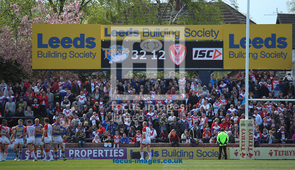 Picture showing the Full Time Scoreboard Leeds Rhinos 32 Saint Helens 12 during the Tetley's Challenge Cup match at Headingley Carnegie Stadium, Leeds<br /> Picture by Stephen Gaunt/Focus Images Ltd +447904 833202<br /> 26/04/2014