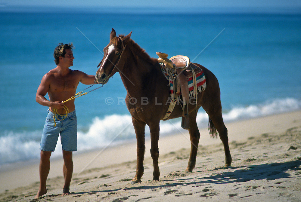 Young man walking with a horse on the beach in Cabo San Lucas, Mexico