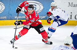 13.02.2016, Olympiaworld, Innsbruck, AUT, Euro Ice Hockey Challenge, Österreich vs Frankreich, im Bild Brian Lebler (AUT) und Jonathan Janil (FRA) // Brian Lebler of Austria and Jonathan Janil of France during the Euro Icehockey Challenge Match between Austria and France at the Olympiaworld in Innsbruck, Austria on 2016/02/13. EXPA Pictures © 2016, PhotoCredit: EXPA/ Jakob Gruber