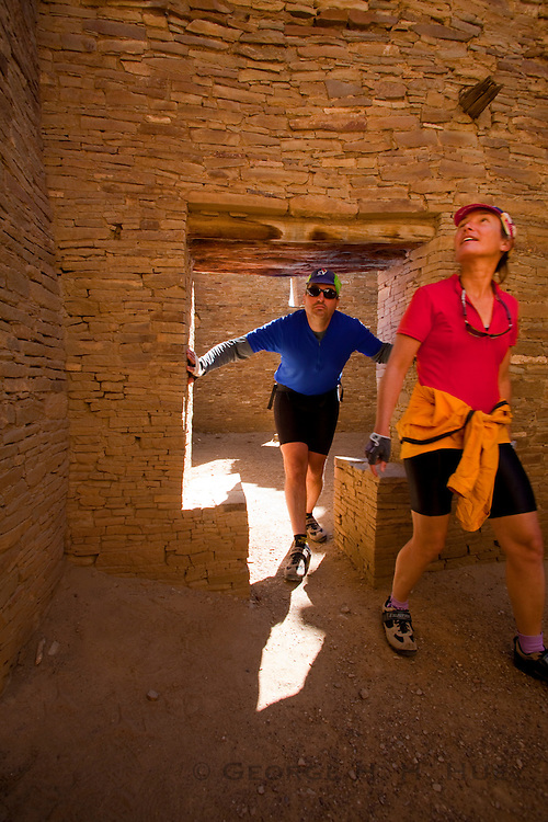 350204-1007 ~ Copyright: George H. H. Huey ~ Visitors at Pueblo Bonito. Chaco Culture National Historic Park, New Mexico.