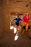 350204-1007 ~ Copyright: George H. H. Huey ~ Visitors at Pueblo Bonito. Chaco Culture National Historic Park, New Mexico.