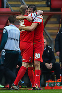 Gianvito Plasmati of Leyton Orient (right) celebrates scoring the opening goal against Crewe Alexandra with Nathan Clarke of Leyton Orient (left) during the Sky Bet League 1 match at the Matchroom Stadium, London<br /> Picture by David Horn/Focus Images Ltd +44 7545 970036<br /> 22/11/2014