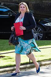London, UK. 23 July, 2019. Karen Bradley MP, Secretary of State for Northern Ireland, arrives at 10 Downing Street for the final Cabinet meeting of Theresa May's Premiership. The name of the new Conservative Party Leader, and so the new Prime Minister, will be announced at a special event following the meeting.