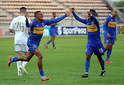 Cape Town-180224 Cape Town City players Teko Modise and Craig Martin celebrating after Craig scored in their PSL game in Athlone against Wits Picture Ayanda Ndamane/African News Agency/ANA