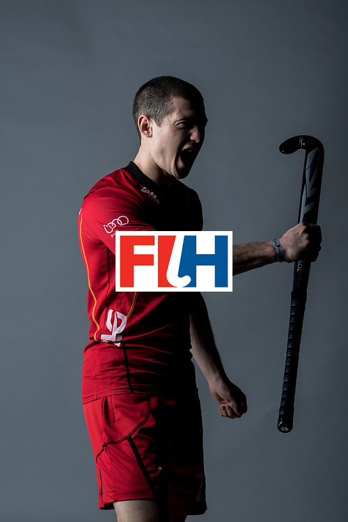 CHANDIGARH, INDIA - FEBRUARY 23: John-John Dohmen of Belgium during the photocall for International Hockey Federation  before the FIH Hockey Stars Awards 2016 at Lalit Hotel on February 23, 2017 in Chandigarh, India. (Photo by Ali Bharmal/Getty Images for FIH)