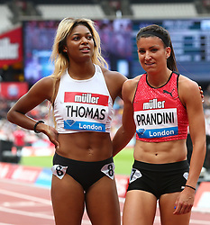 July 22, 2018 - London, United Kingdom - Gabrielle Thomas  of USA  and Jenna Prandini  of USA winner after the 200m Women.during the Muller Anniversary Games Day One at The London Stadium on July 22, 2018 in London, England. (Credit Image: © Action Foto Sport/NurPhoto via ZUMA Press)