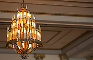 A chandelier in the Great Hall in Memorial Union in 2013, prior to renovations to the building.