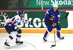 Radovan Somik of Slovakia and David Rodman of Slovenia at ice-hockey game Slovenia vs Slovakia at Relegation  Round (group G) of IIHF WC 2008 in Halifax, on May 09, 2008 in Metro Center, Halifax, Nova Scotia, Canada. Slovakia won 5:1. (Photo by Vid Ponikvar / Sportal Images)