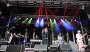 Suggs and band during the GrandSlam Madness  2014 Arena tour at the BrightonandHoveJobs.com County Ground, Hove, United Kingdom on 28 June 2015. Photo by Phil Duncan.