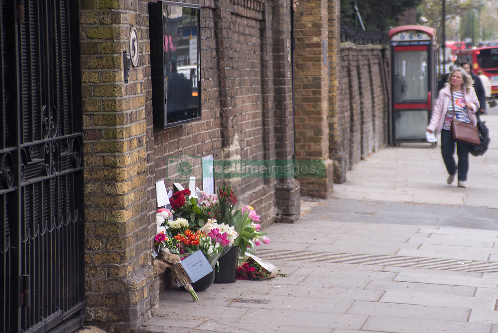 April 4, 2017 - Sofia, Bulgaria - Flowers are pictured outside the Russian Embassy in London, on April 4, 2017. The Flowers and peace messages have been put to commemorate the victims of the terror attack of St. Petersburg underground Station which killed eleven people. (Credit Image: © Alberto Pezzali/NurPhoto via ZUMA Press)
