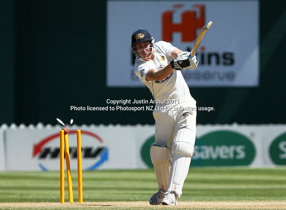 James McMillan gets bowled. Plunket Shield cricket - Wellington Firebirds v Otago Volts, day four at Hawkins Basin Reserve, Wellington, New Zealand on Friday 2 December 2011. Photo: Justin Arthur / photosport.co.nz