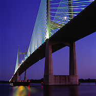 The Dames Point Bridge in Jacksonville, Florida crosses over St. Johns River via I-295.