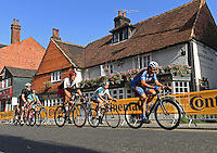 DORKING UK 31ST JULY 2016:  Riders pass through Dorking. The Prudential RideLondon-Surrey 100 Sportive in London 31st July 2016<br /> <br /> Photo: Thomas Lovelock/Silverhub for Prudential RideLondon<br /> <br /> Prudential RideLondon is the world's greatest festival of cycling, involving 95,000+ cyclists – from Olympic champions to a free family fun ride - riding in events over closed roads in London and Surrey over the weekend of 29th to 31st July 2016. <br /> <br /> See www.PrudentialRideLondon.co.uk for more.<br /> <br /> For further information: media@londonmarathonevents.co.uk