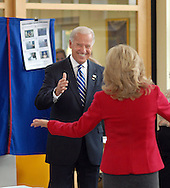 GREENVILLE, DE - NOVEMBER 4:  Democratic Vice Presidential candidate Sen. Joe Biden (D-De.) gives a thumbs up to his wife Jill after voting at The Tatnall School November 4, 2008 in Greenville, Delaware. Record turnout is expected at the polls for today's election. (Photo by William Thomas Cain/Getty Images)