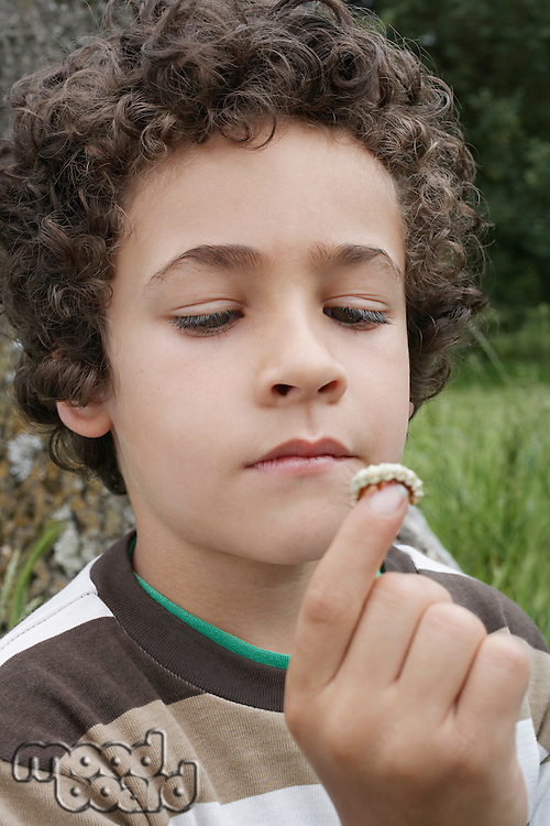Boy (7-9) holding caterpillar outdoors