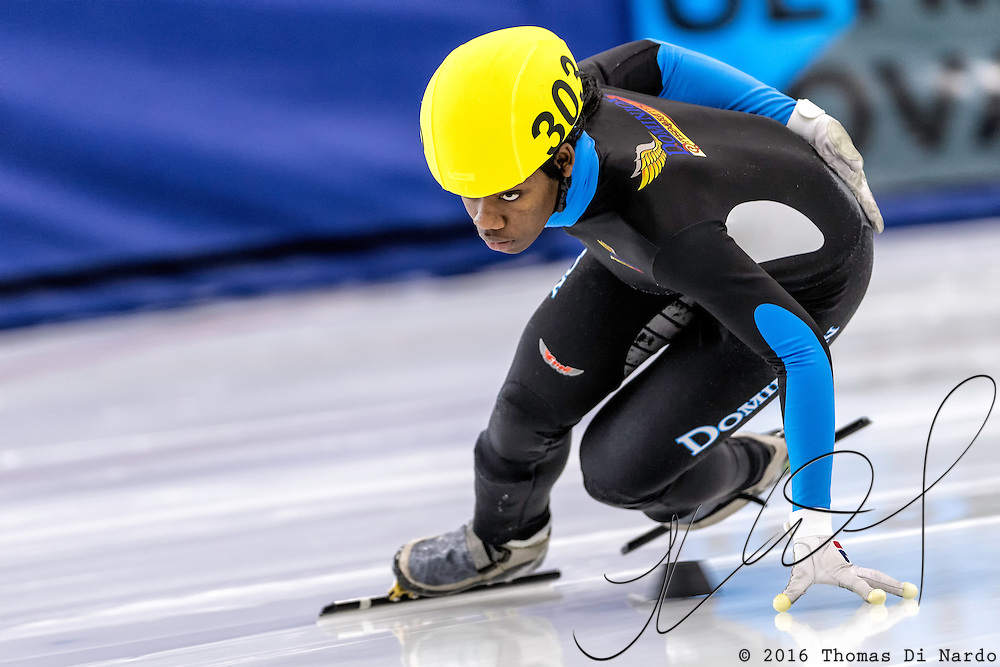 December 17, 2016 - Kearns, UT - Maame Biney skates during US Speedskating Short Track Junior Nationals and Winter Challenge Short Track Speed Skating competition at the Utah Olympic Oval.