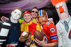 The Hubs, Hallam Union, Paternoster Row plays host to Sheffield's biggest Fancy Dress Ball. More than 900 people in fancy dress to raise money for Cancer Research on Saturday night .Russ Mace, Chris Ansell, Steve France, Danielle Scott and Terry Hulley.6 April  2013.Image © Paul David Drabble
