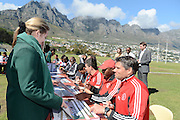 CAPE TOWN, South Africa, Thursday 30 August 2012, Maarten Stekelenberg, Dutch head coach of Ajax Cape Town football team, signed official posters for learners at Camps Bay High School. Ajax Cape Town visits schools regularly to speak to learners at schools as well as hold coaching clinics..Photo Roger Sedres/ Image SA