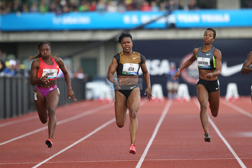 Carmelita Jeter competes in the 100m final during day 2 of the U.S. Olympic Trials for Track & Field at Hayward Field in Eugene, Oregon, USA 23 Jun 2012..(Jed Jacobsohn/for The New York Times)....