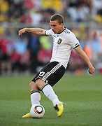 Lukas Podolski scores the second goal for Germany during the 2010 World Cup Soccer match between England and Germany in a group 16 match played at the Freestate Stadium in Bloemfontein South Africa on 27 June 2010.