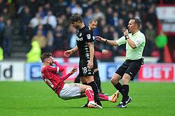 Matty Taylor of Bristol City goes down after Gaetano Berardi of Leeds United confronts him - Mandatory by-line: Dougie Allward/JMP - 21/10/2017 - FOOTBALL - Ashton Gate Stadium - Bristol, England - Bristol City v Leeds United - Sky Bet Championship