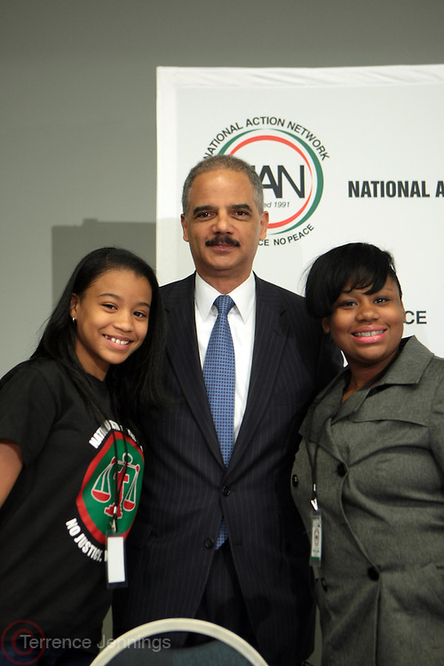 Washington, DC-April 11: (L-R)Victoria Pannell, Northeast Regional  Youth Move Director, NAN, Attorney General of the United States Eric Holder and Mary Pat Hector, National Youth Move Director, NAN  attend the 14th Annual National Convention Special Plenary Presentation 1 with Attorney General of the United States Eric Holder held at the Walter E. Washington Convention on April 11, 2012 in Washington, DC . Photo by Terrence Jennings