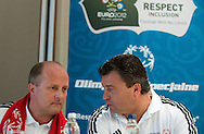 "(L) Boguslaw Galazka - director of Special Olympics Poland & (R) Famous former Polish soccer player Roman Kosecki while press conference before  demonstration match of the Special Olympics as part of the Respect Inclusion ""Football With No Limits"" before the UEFA EURO 2012 Quarterfinal football match between Portugal and Czech Republic at National Stadium in Warsaw on June 21, 2012...Poland, Warsaw, June 21, 2012..Picture also available in RAW (NEF) or TIFF format on special request...For editorial use only. Any commercial or promotional use requires permission...Photo by © Adam Nurkiewicz / Mediasport"