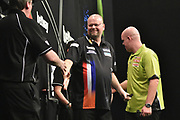 Raymond van Barneveld defeats Michael van Gerwen during the Betway Premier League Darts at the Manchester Arena, Manchester, United Kingdom on 23 March 2017. Photo by Mark Pollitt.