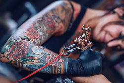 27.06.2019, Schladming, AUT, Rock the Roof 2019, im Bild Tätowiererin // Tattoo Artist during the Rock the Roof Biker Meeting in Schladming, Austria on 2019/06/27. EXPA Pictures © 2019, PhotoCredit: EXPA/ JFK