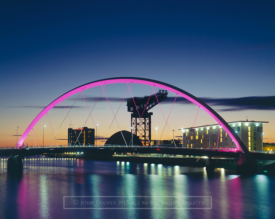Colour photograph of The Clyde Arc bridge with The Finnieston Crane and Clyde Auditorium. Mounted print available to purchase.