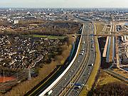 Nederland, Utrecht, Gemeente Maarssen, 20-02-2012; autosnelweg A2 en geluidsscherm ter hoogte van Maarssenbroek.Noise barrier of motorway A2. .luchtfoto (toeslag), aerial photo (additional fee required).copyright foto/photo Siebe Swart