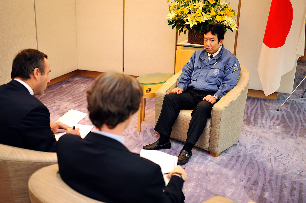 Mr Yukio Edano, chief cabinet secretary in the Kan government. Interview Mure Dickie and Lionel Barber