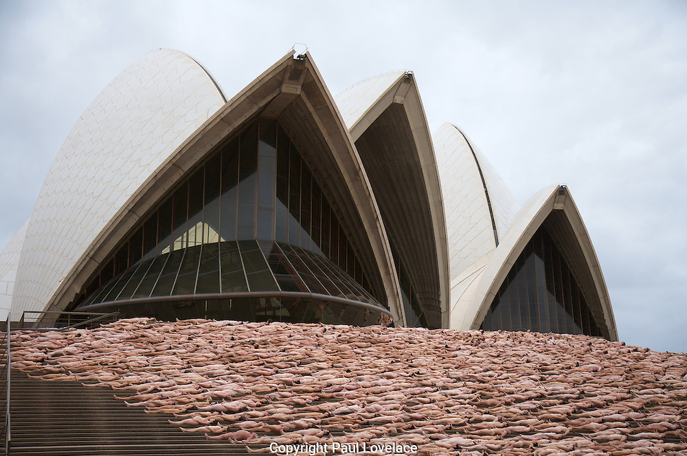 """Mardi Gras"" - The Base By Spencer Tunick, Opera House, Sydney, Australia- 1 March 2010.Paul Lovelace Photography.Internationally renowned artist Spencer Tunick and the Sydney Gay and Lesbian Mardi Gras today united 5,200 Australians from the straight, gay, lesbian, bisexual and transgender communities in the nude installation called, 'Mardi Gras: The Base' by Spencer Tunick..[ Editorial Useage Only] . An instant sale option is available where a price can be agreed on image useage size. Please contact me if this option is preferred."