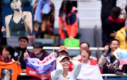 TIANJIN, Oct. 15, 2017  Maria Sharapova of Russia celebrates victory after the women's singles final match against Aryna Sabalenka of Belarus at the 2017 WTA Tianjin Open tennis tournament in north China's Tianjin Municipality, Oct. 15, 2017. Maria Sharapova won 2-0 to claim the title. (Credit Image: © Yue Yuewei/Xinhua via ZUMA Wire)