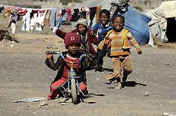 SANAA, Oct. 29, 2016 (Xinhua) -- Displaced children play at an internally displaced camp at Amran province, north Sanaa, Yemen on Oct. 29, 2016. According to UN, 14.1 million people in Yemen are food insecure, of whom 7.6 million are one step from famine due to the civil war and Saudi-led bombing campaign. (Xinhua/Mohammed Mohammed) (Credit Image: © Mohammed Mohammed/Xinhua via ZUMA Wire)