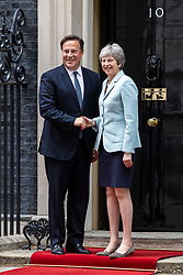 © Licensed to London News Pictures. 14/05/2018. London, UK. Prime Minister Theresa May greets President of Panama Juan Carlos Varela on Downing Street. Photo credit: Rob Pinney/LNP
