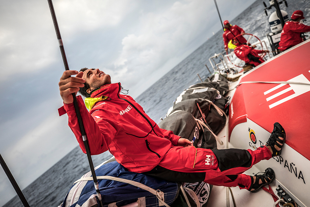 Leg 6 to Auckland, day 04 on board MAPFRE, Blair Tuke looking at the sails. 10 February, 2018.