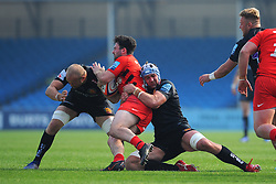 Toby Salmon of Exeter Braves makes a tackle on Ben Earl of Saracens Storm- Mandatory by-line: Nizaam Jones/JMP - 22/04/2019 - RUGBY - Sandy Park Stadium - Exeter, England - Exeter Braves v Saracens Storm - Premiership Rugby Shield