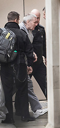 © Licensed to London News Pictures. 07/02/2018. London, UK. JOHN WORBOYS is seen being escorted in to the High Court in London where two of his victims are due to challenge the decision to release him from prison. London Mayor Sadiq Khan will also urge Sir Brian Leveson and Mr Justice Garnham to allow judicial review action against the Parole Board. Photo credit: Peter Macdiarmid/LNP