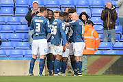 Birmingham City midfielder Jacques Maghoma celebrates goal 1-1 during the Sky Bet Championship match between Birmingham City and Burnley at St Andrews, Birmingham, England on 16 April 2016. Photo by Alan Franklin.