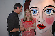 Tim Jefferies and Stella Vine. 'Stellawood' exhibition of work by Stella Vine, Hamiltons. Carlos Place. London. 22 June 2005. ONE TIME USE ONLY - DO NOT ARCHIVE  © Copyright Photograph by Dafydd Jones 66 Stockwell Park Rd. London SW9 0DA Tel 020 7733 0108 www.dafjones.com
