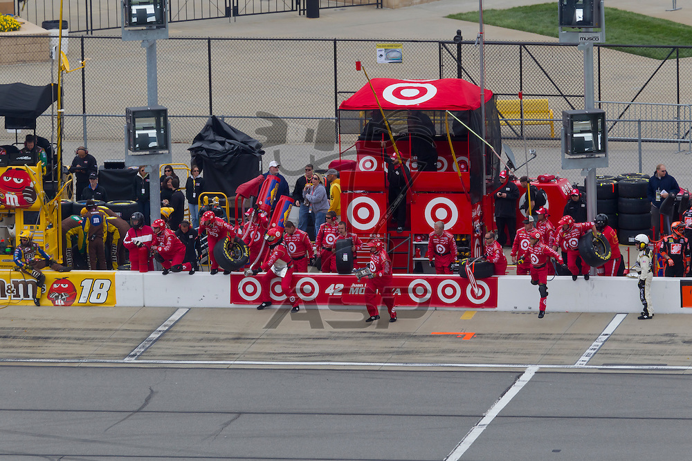 KANSAS CITY, KS - APR 22, 2012:  Juan Pablo Montoya (42) races during the STP 400 at the Kansas Speedway in Kansas City, KS.