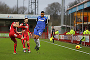 Jon Ashton of Crawley Town clears during the Sky Bet League 2 match between Crawley Town and Stevenage at the Checkatrade.com Stadium, Crawley, England on 26 December 2015. Photo by Phil Duncan.