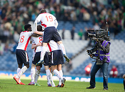 Falkirk's players cele the win.<br /> Hibernian 0 v 1 Falkirk, William Hill Scottish Cup semi-final, played 18/4/2015 at Hamden Park, Glasgow.