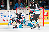 KELOWNA, CANADA - NOVEMBER 25: Jackson Whistle #1 of Kelowna Rockets makes a second period save against the Seattle Thunderbirds on November 25, 2015 at Prospera Place in Kelowna, British Columbia, Canada.  (Photo by Marissa Baecker/Getty Images)  *** Local Caption *** Jackson Whistle;