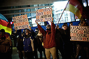 Frankfurt am Main | 02 Feb 2015<br /> <br /> Am Montag (02.02.2015) demonstrierten in Frankfurt an der Hauptwache etwa 60 PEGIDA-Anh&auml;nger mit teils extrem rassistischen Reden und Parolen z.B: gegen &quot;Islamisierung&quot;, an den Aktionen gegen die Rechtsextremisten nahmen mehrere tausend Menschen teil.<br /> Hier: Die PEGIDA-Demo, &Uuml;bersicht.<br /> <br /> &copy;peter-juelich.com<br /> <br /> [No Model Release | No Property Release]