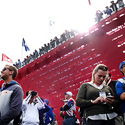 Ryder Cup 2016.  Spectators watching play on the tenth tee during practice day at the Hazeltine National Golf Club on September 29, 2016 in Chaska, Minnesota.  (Photo by Tim Clayton/Corbis via Getty Images)